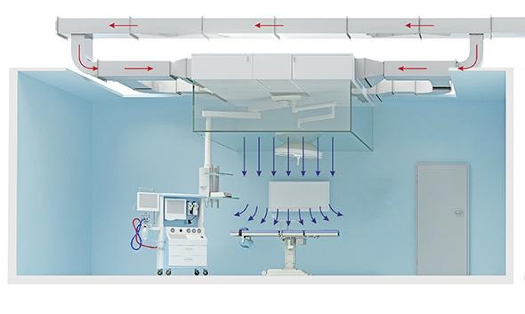 Ламинайрный потолок в операционных